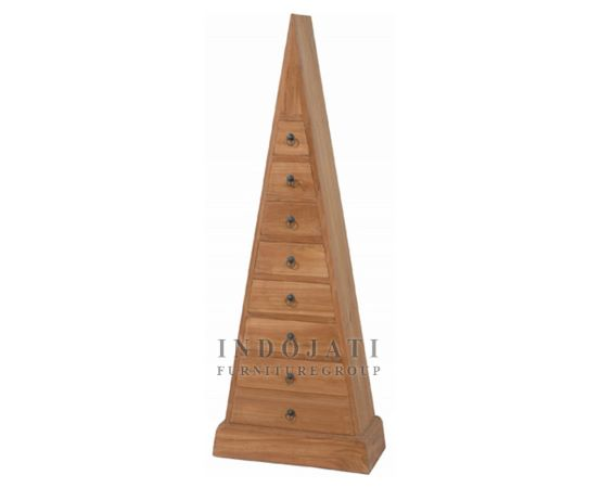 Teak Wood Pyramid Drawer Cabinet
