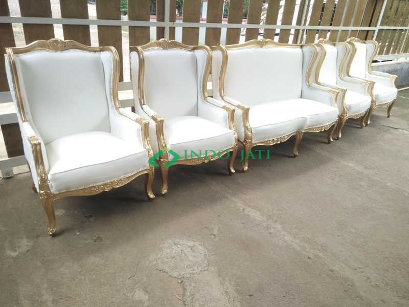 Kursi Pelaminan Gold Model Wing Chairs