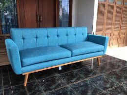 Sofa Retro 2 Seater Warna Biru
