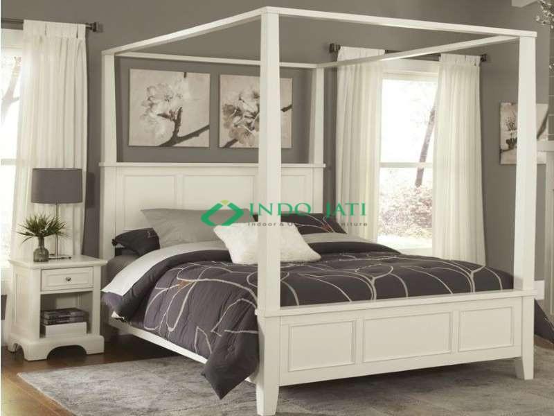 Tempat Tidur Kanopi Duco Putih