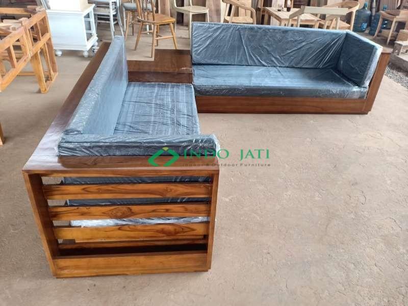 Sofa Sudut Jati Minimalis