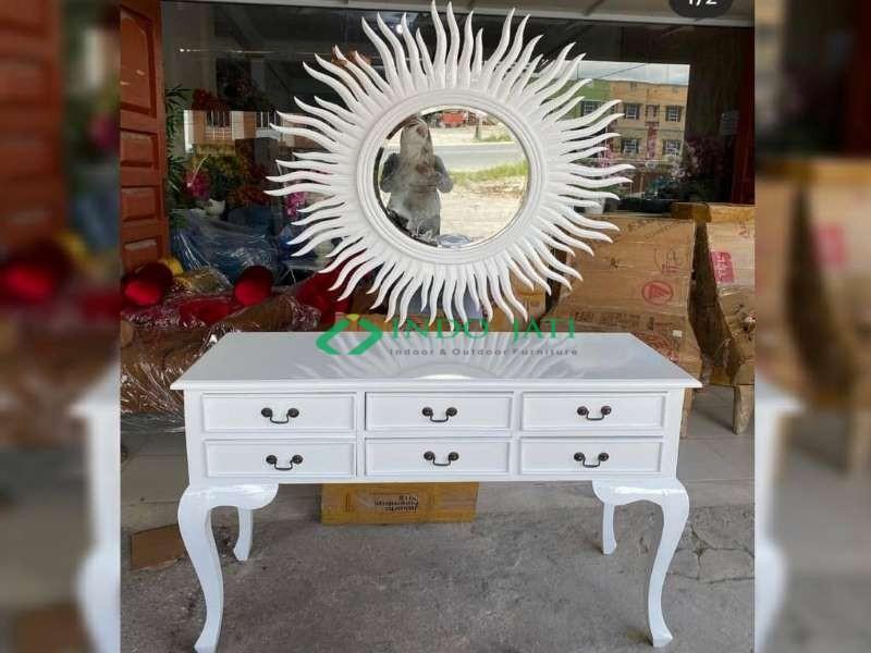 Meja Drawer Cermin Duco Putih