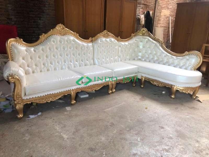 Sofa Sudut Mewah Klasik Gold