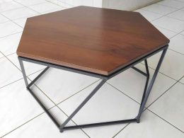 Teak Coffe Table Kaki Besi